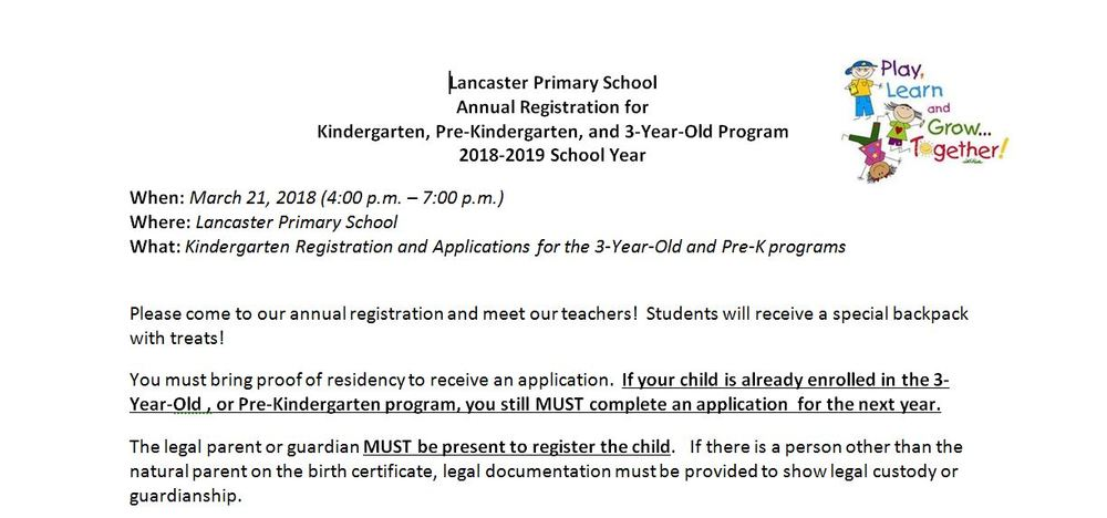 **Rescheduled**LPS Kindergarten Registration **Rescheduled**