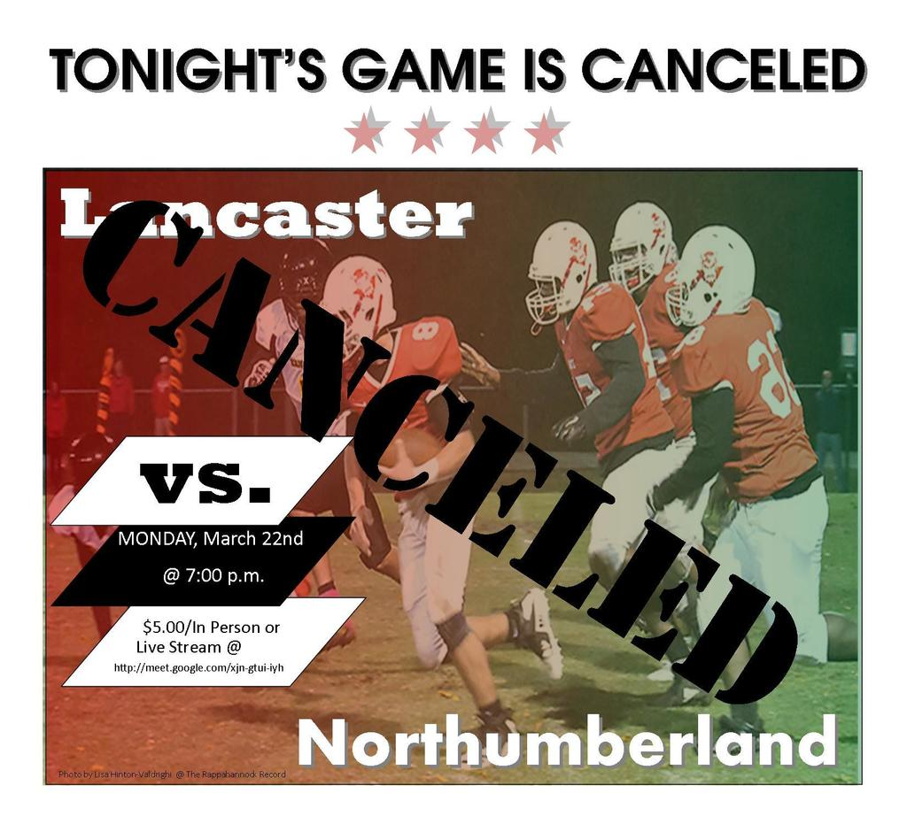 flier that the football game has been cancelled